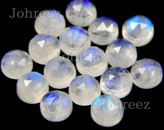 15 pieces natural rainbow moonstone round rose cut loose gemstone