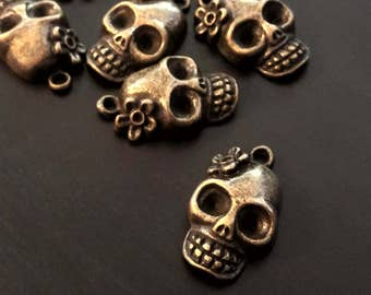 4 Sugar Skull Charms | Dia De Los Muertos | Bronze Skull | Skull with Flower | Day of the Dead | Skull Pendant | Ready to Ship USA | BR058-4