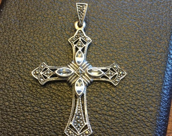 VIntage Sterling Silver Marcasite Jeweled Cross Pendant Charm