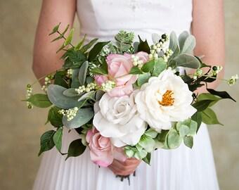 White Bridal Bouquet, Green Wedding Bouquet, Pink Bouquet, Silk Flower Bridal Bouquet, Wedding Flowers, Eucalyptus Bouquet, Rose Bouquet