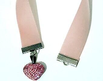 Pink Large Heart Charm Ribbon Bookmark