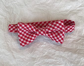 Red & White Gingham Bow Tie, Gingham Bow Tie, Boys Red and White Gingham Bow Tie, Toddlers Adjustable Gingham Bow Tie, Red and White Bow Tie