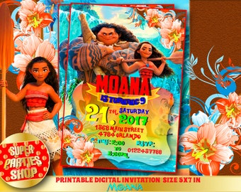 Moana Invitation - Digital Custom invitation,Moana invite ,Moana  Party Moana Birthday,Moana,maui, Printable Design