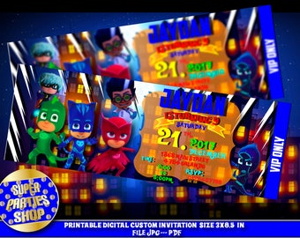 Pj Masks Digital personalized digital invitation ,pj masks  invitation Ticket, Pass, VIP, pj masks, pj masks party , pj masks birthday ,Pj