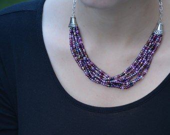 Purple Mix Braided Necklace