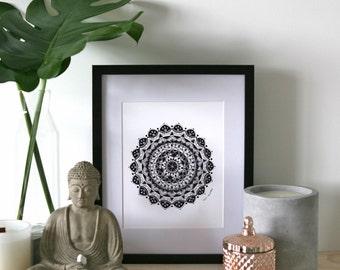 Guidance A4 Mandala Print, A4 Black and White Print, Meditation Tool, Mandala Art Print, A4 Mandala Print