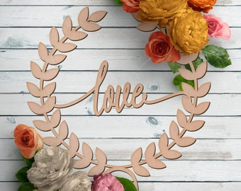 Love Sign - Wedding Prop Sign - Laurel Wreath Sign - Love Wooden Sign - Wood Love Sign
