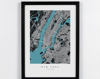 New York, USA - City Map Art Print - A2, A3, A4. Graphical Home decor map
