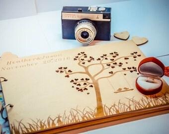 Wooden wedding guest book, wedding notebook, custom guest book,wood wedding journal, boho style, wedding, wedding gift, wooden notebook,
