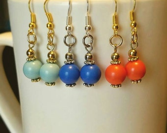 Coral bead dangle earrings Light Blue bead dangle earrings Royal blue dangle earrings