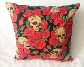 Skulls Roses Gothic Horror Tattoo Cushion Pillow