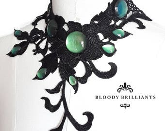Necklace collar Choker necklace lace black asymmetrical flowers Cirrus Gothic WGT