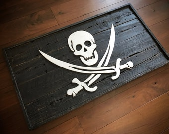 Jolly roger Pirate flag made from reclaimed wood