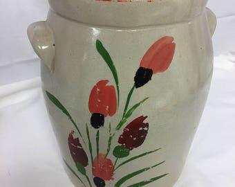 Vintage Tall Handpainted Lidded Pottery Crock