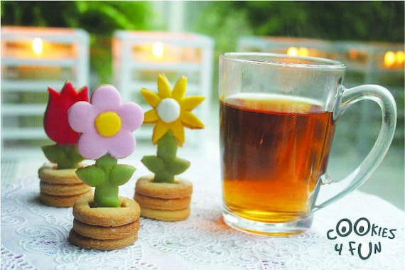 Flowers 3D Cookie cutter set baking cookies with by Cookies4fun