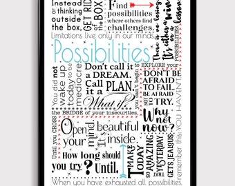 Typography Possibilities Art, Birthday Gift, Inspirational Art, Motivational Art, Friend Gift, Office Gift, Entrepreneur Gift, Office Art