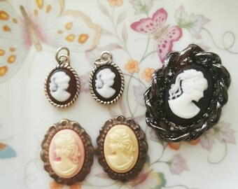 Lot of Vintage Resin Cameo Cabochons / Charms