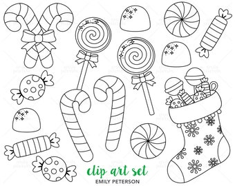 Christmas Candy, Candy Canes, Peppermint - Cute Digital Stamps, Line Art  - Commercial Use, Instant Download