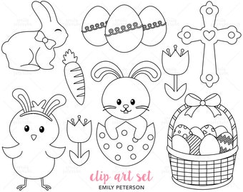 Easter Bunny, Chick, Cross - Cute Digital Stamps, Line Art  - Commercial Use, Instant Download