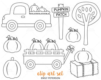 Pumpkin Patch, Fall Trees, Wagon, Truck - Cute Digital Stamps, Line Art  - Commercial Use, Instant Download