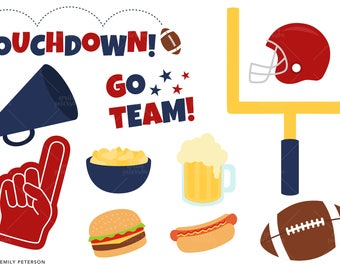 Football Party, Touchdown, Football Helmet - Cute Clipart, Clip Art - Commercial Use, Instant Download | V2