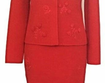 1980s Vintage Bill Blass For Bergdorf Goodman Embroidered Red Wool Skirt Suit