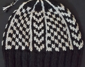 Black & Gray Checkered Winter Hat - Hand Knit
