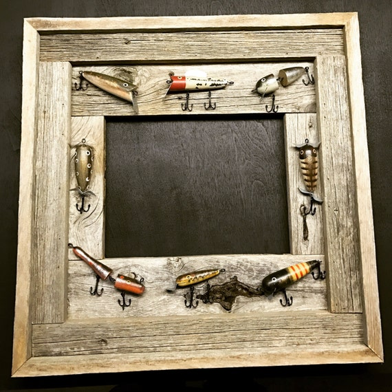 Rustic lure frame handmade fish lure folk art fish lure for Fishing picture frame