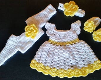 Yellow Baby Dress, Newborn Baby Outfit, Yellow Baby Girl Set, Crocheted Set, Long Sleeves Shrug, Baby Outfit, Baby Shower Gift, Photo Prop