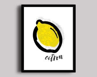 Kitchen Lemon Print, Home Decor Print, Lemon Art, Lemon Illustration, Modern Kitchen Art, Fruit Art Print, Citrus Print, Yellow Lemon