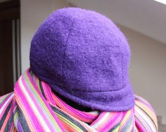 Hat violet.80s accessory.ladies softwool hat.women's violet bucket hat.vintage accessories.soft winter.princess violet wedding headwear.
