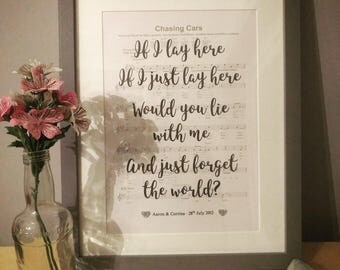 Personalised First Dance Song Lyrics - A4 frame - sheet music overlaid with lyrics - wedding anniversary gift present ideal unique