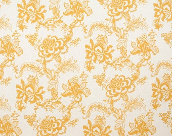 Linen Fabric By the yard Blossom Mustard on Ivory