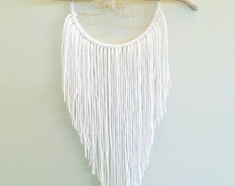 White Dreamcatcher, Dreamcatchers, Home Decor, Bohemian Decor, Gypsy, Wall Hangings, Driftwood Dreamcatcher, Hippie Home, Boho Chic