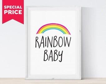 Rainbow Baby Shower Gift, Rainbow Baby Print, Rainbow Print, Rainbow Baby Nursery Art Print, Nursery Rainbow, Newborn Gift, Instant Download