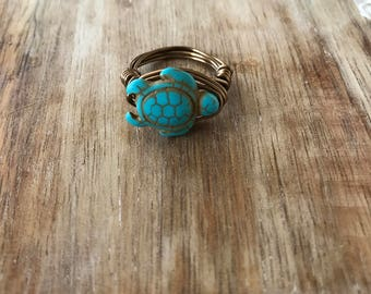 FREE SHIPPING // Turquoise Turtle Ring