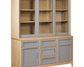Norwegian Style Painted Oak Sideboard & Glass Hutch with FREE delivery