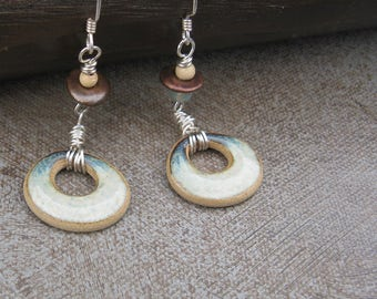 Ceramic Disc Earrings, Aqua and Blue Earrings, Silver wrapped green ceramic earrings