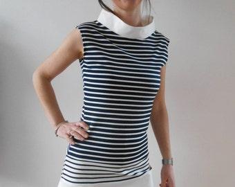 Dress sailor woman marine cut ecru stripe trapeze