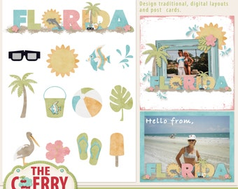 Florida Page Starter, Digital Printable Scrapbooking Sheet and Papers