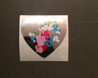 Sandylion vintage 1990 rare shiny heart shape baby and flower sticker
