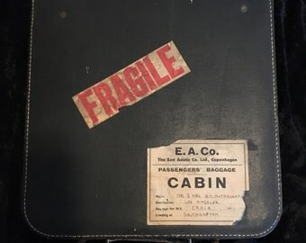 Vintage Record Case for 78's With Immigrant Labels East Asiatic Co M.S.Erria Ship 1930's