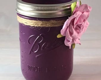 Vintage Style Purple Mason Jar with Twine and Pink Paper Flower - FREE SHIPPING!
