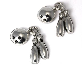 2pc, Bowling charm, Pewter