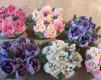 Flower Soap Cupcakes / Cold Process Soap