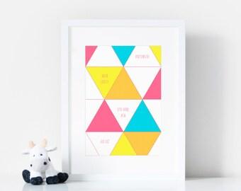 Personalised Birth Stats Print - Newborn Baby Print - Birth Announcement - New Baby Gift- Nursery Decor - Modern Nursery Art - 6 colours
