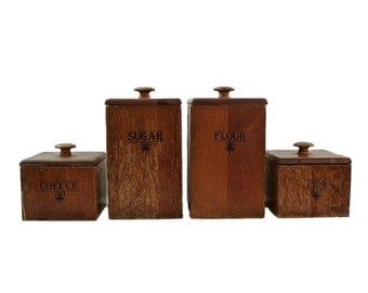 ... Brown Kitchen Canister Sets Kitchen Canister Set Etsy ...