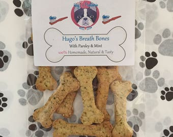 NEW!!! Hugo's Breath Bones - Natural, Gluten Free Dog Biscuits / Treats with Parsley and Mint