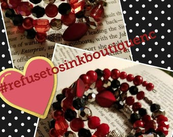 Black, Red and Owls all over! Memory Wire Bracelet
