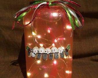 Happy Holidays Mason Jar Luminary